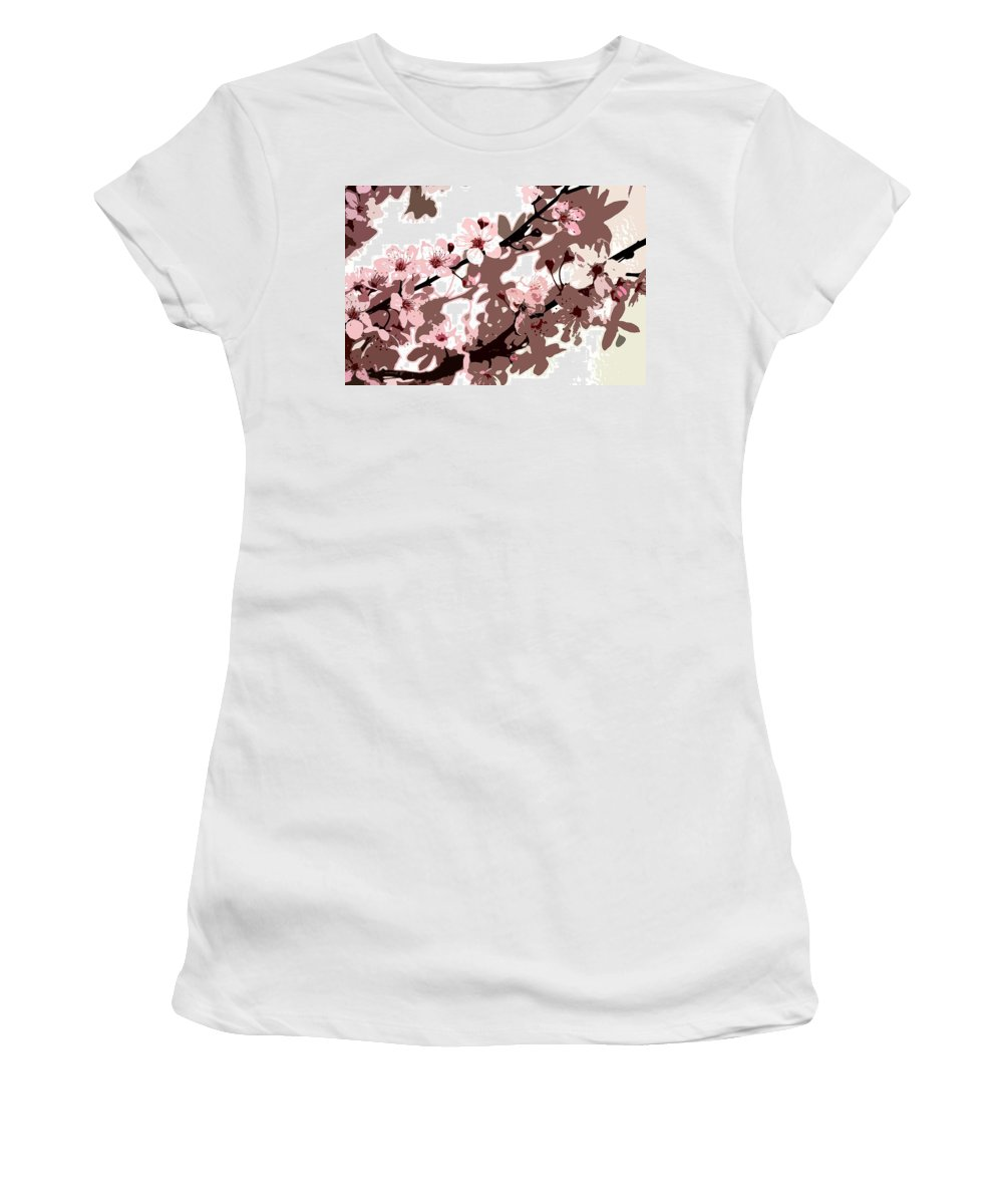 Climbing; Creeper; Flowers; Pink; Flower; Cherry; Cherries; Climb: Japanese Blossom Women's T-Shirt (Athletic Fit) featuring the painting Japanese Blossom by Sarah O Toole