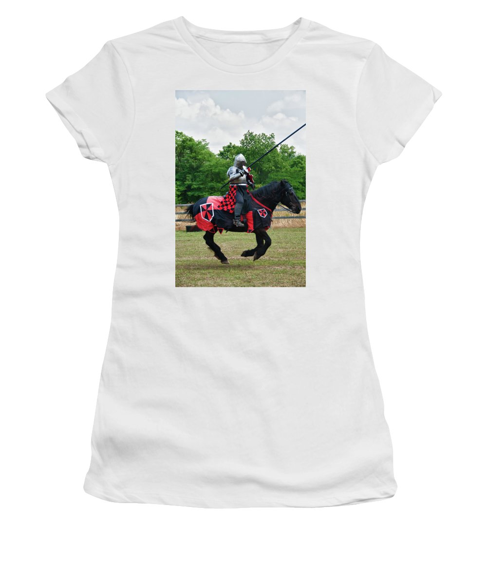 East Aurora Women's T-Shirt (Athletic Fit) featuring the photograph Joust 7516 by Guy Whiteley
