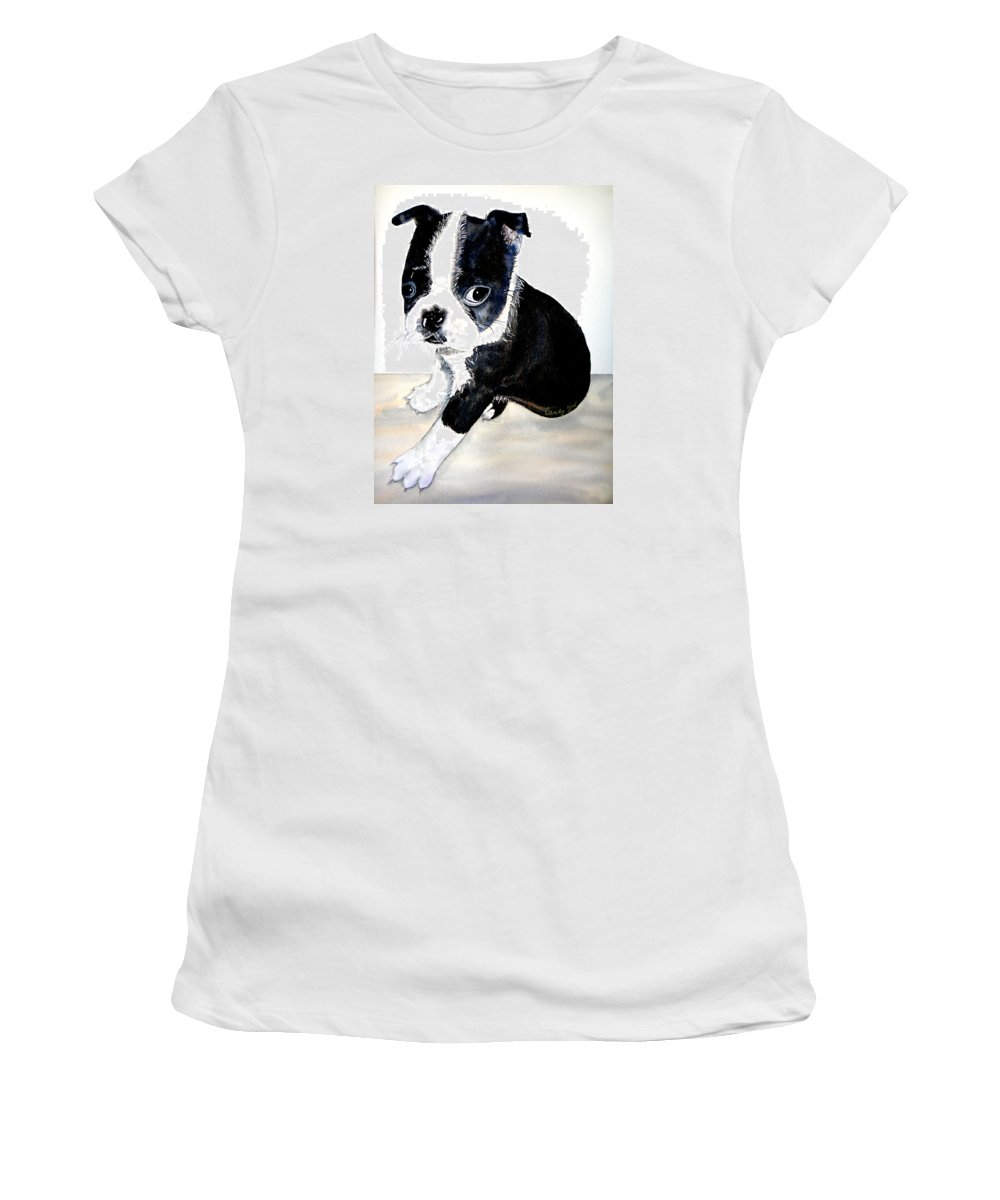 Animal Women's T-Shirt featuring the painting Kendall's Ajax by Candy Yu