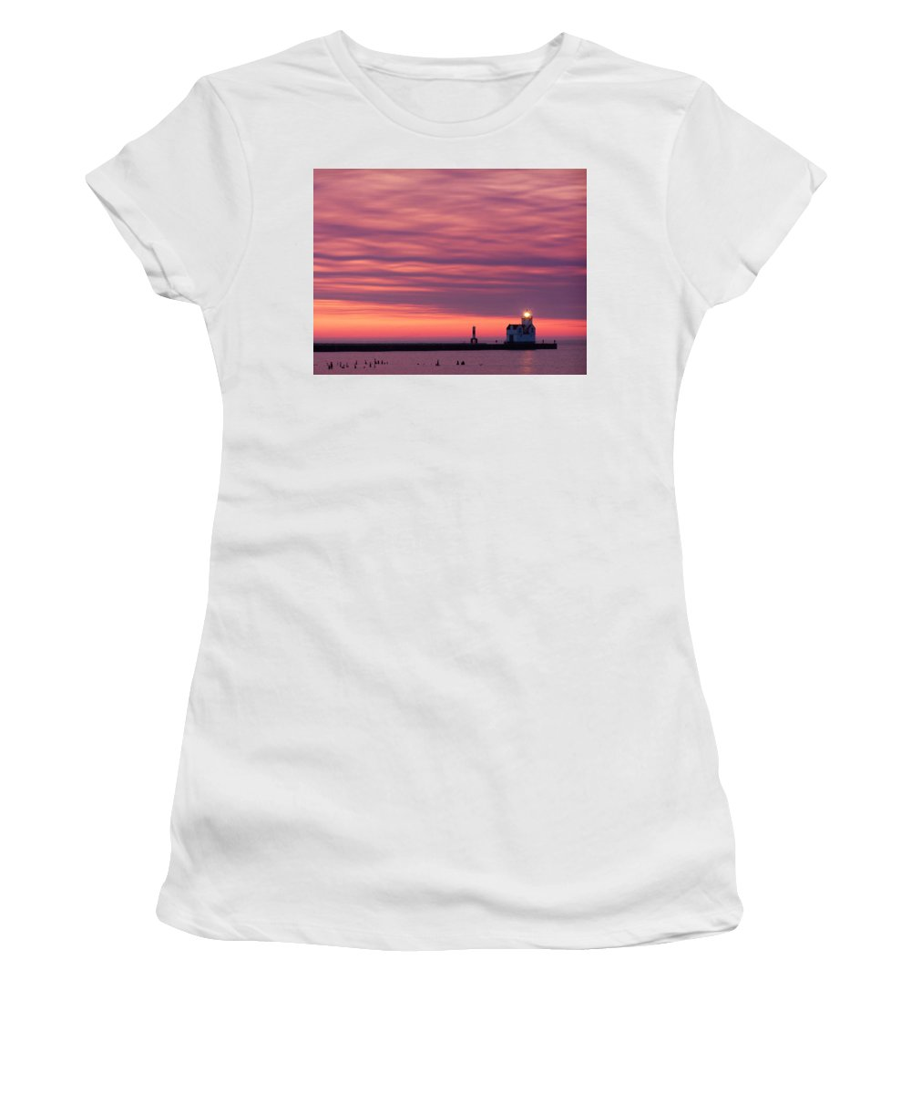 Lighthouse Women's T-Shirt (Athletic Fit) featuring the photograph Kewaunee Lighthouse At Sunrise by Bill Pevlor