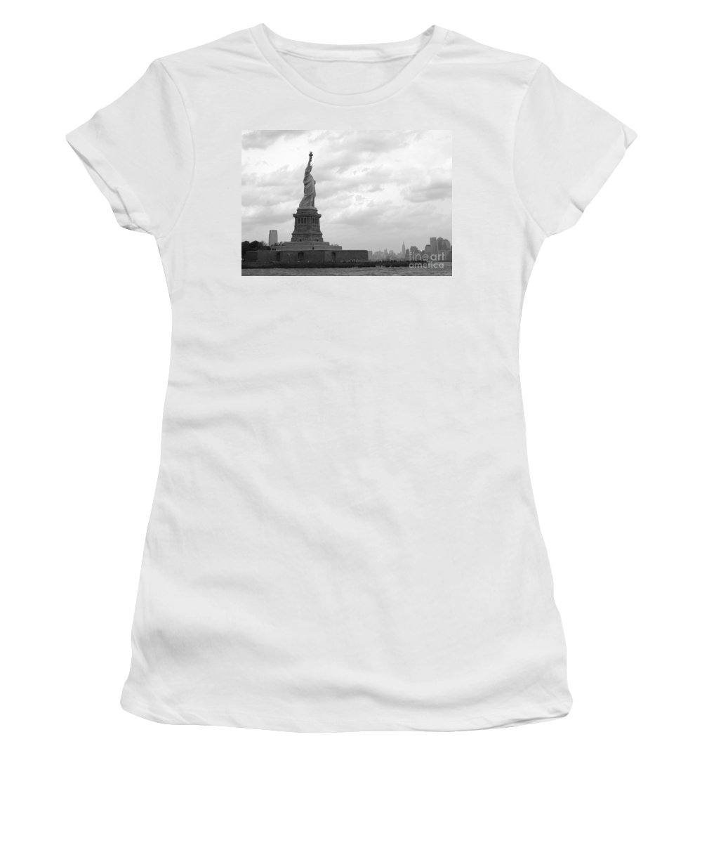 Statue Of Liberty Women's T-Shirt (Athletic Fit) featuring the photograph Lady And The Harbor by Living Color Photography Lorraine Lynch