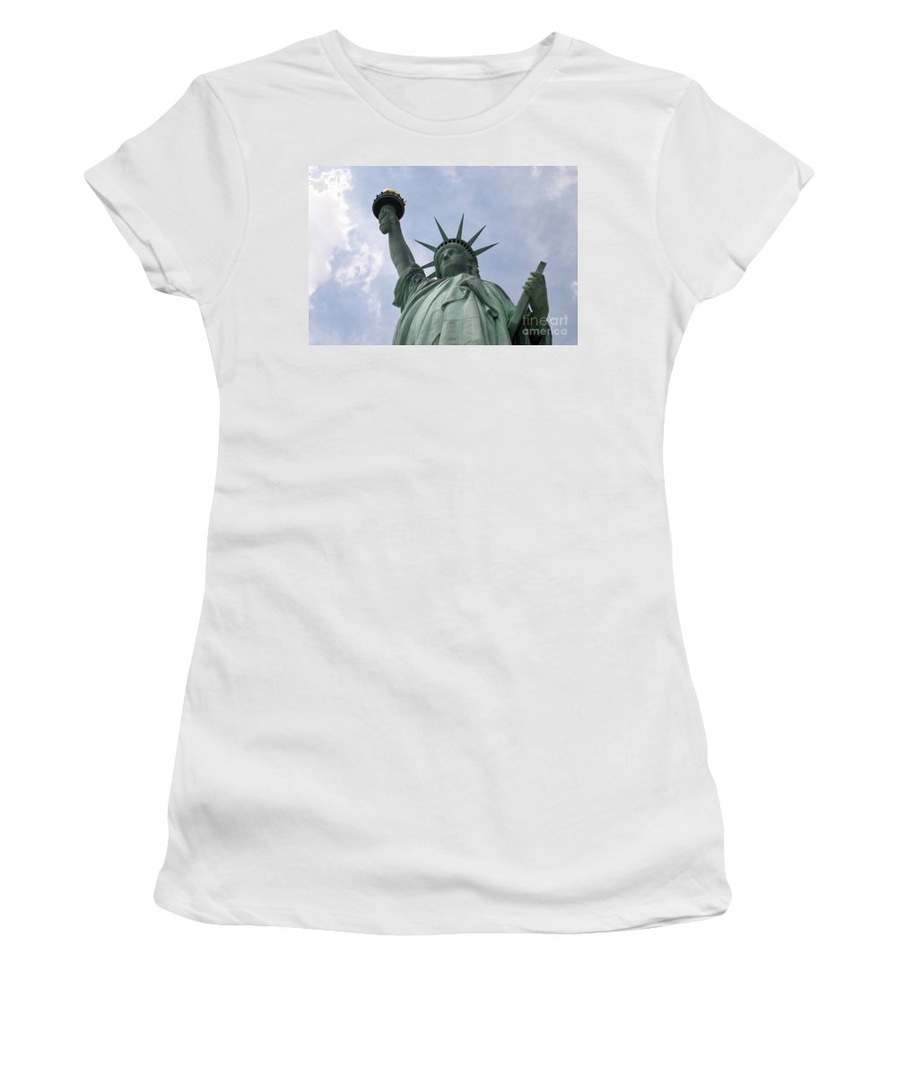 Statue Of Liberty Women's T-Shirt (Athletic Fit) featuring the photograph Lady Liberty by Living Color Photography Lorraine Lynch