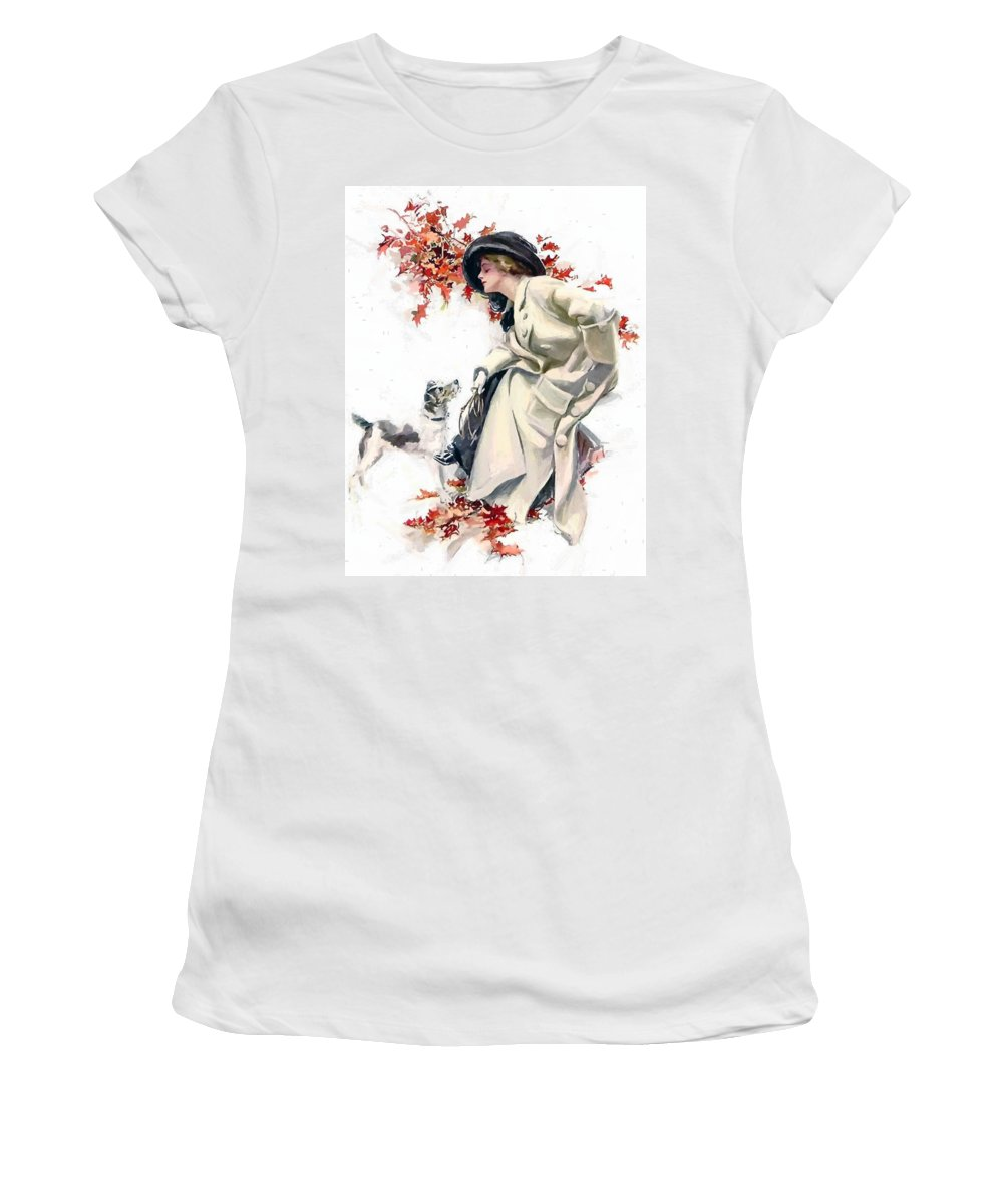 Lady Woman Dog Leaves Leaf Tree Autumn Red Hat Portrait Expressionism Painting Vintage Women's T-Shirt (Athletic Fit) featuring the painting Lady With Dog by Steve K