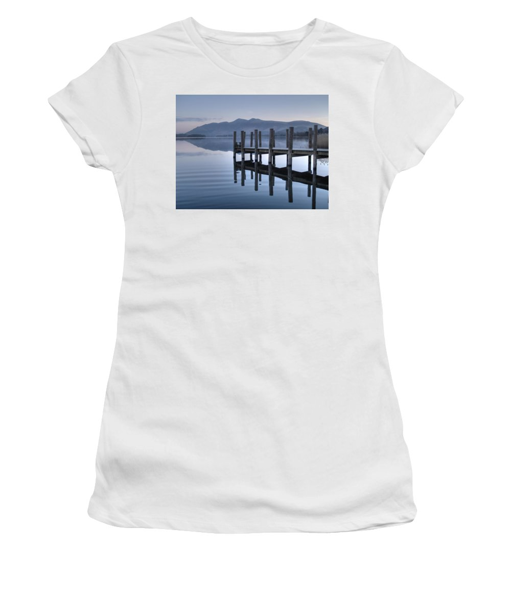 Lake Women's T-Shirt (Athletic Fit) featuring the photograph Lake District Jetty by Andy Linden