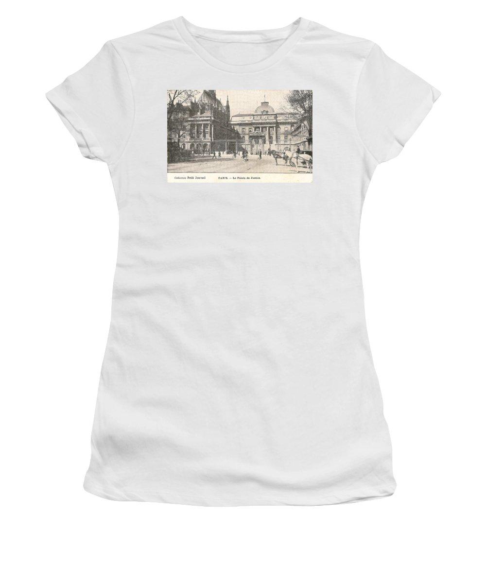 Paris Women's T-Shirt (Athletic Fit) featuring the digital art Le Palais De Justice by Georgia Fowler