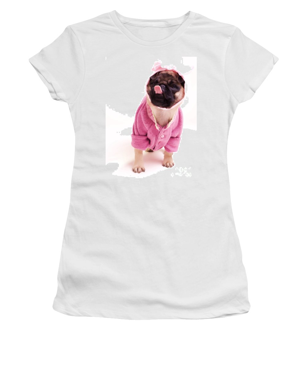 Pug Dog Puppy Pink Sweater Tongue Lick Licking Cute Adorable Sweet Women's T-Shirt (Athletic Fit) featuring the photograph Lick by Edward Fielding