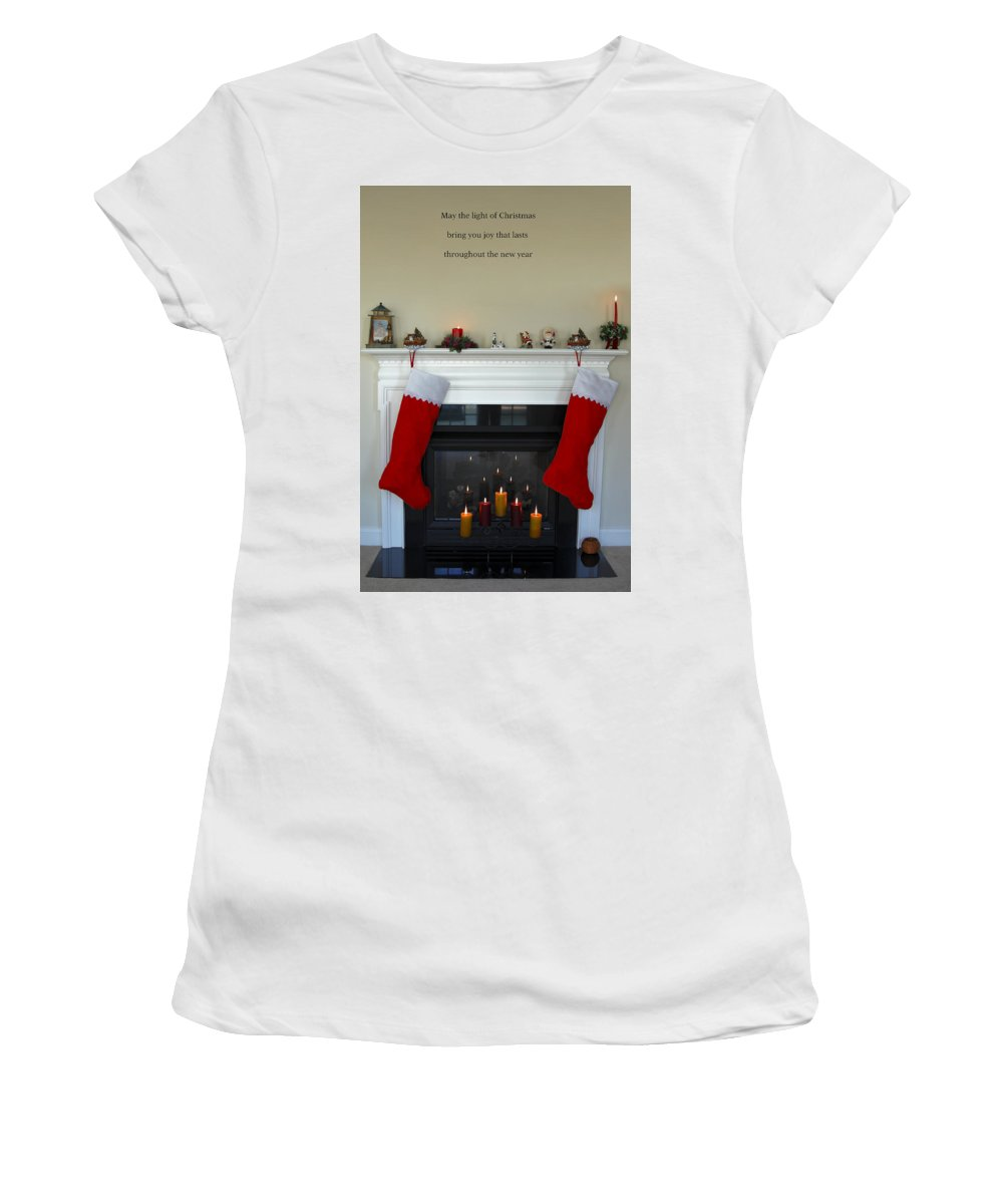 Fireplace Women's T-Shirt (Athletic Fit) featuring the photograph Light Of Christmas by Sally Weigand
