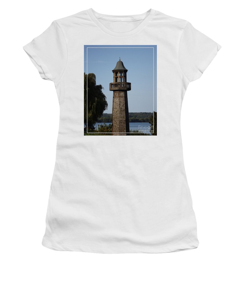 Lighthouse Women's T-Shirt (Athletic Fit) featuring the photograph Lighthouse At Lake Chautauqua by Rose Santuci-Sofranko