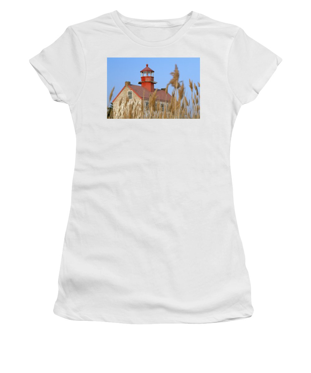 Horizontal Women's T-Shirt (Athletic Fit) featuring the photograph Lighthouse In Wheat Field by Axiom Photographic