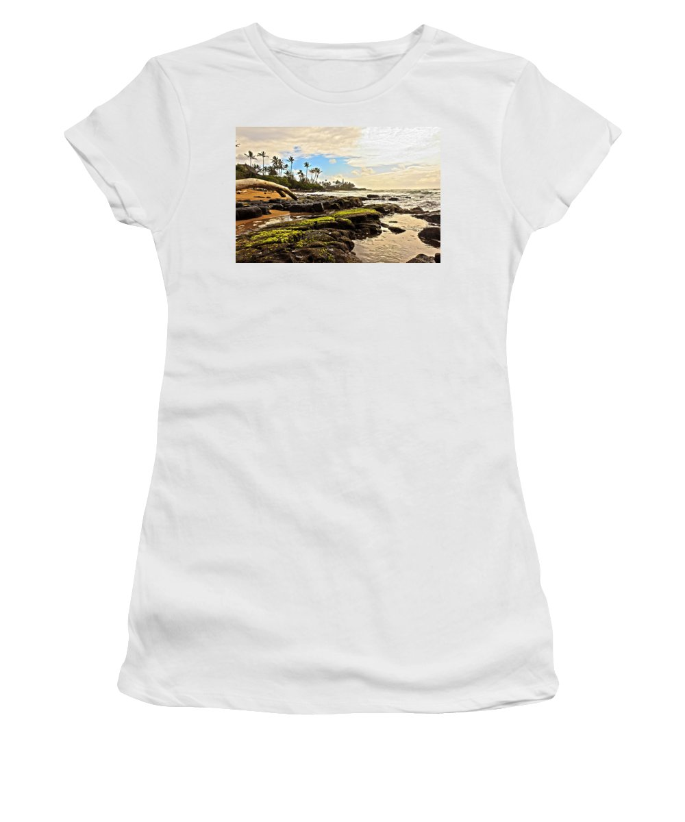 America Women's T-Shirt (Athletic Fit) featuring the photograph Lihue Rocky Coast by Artistic Photos