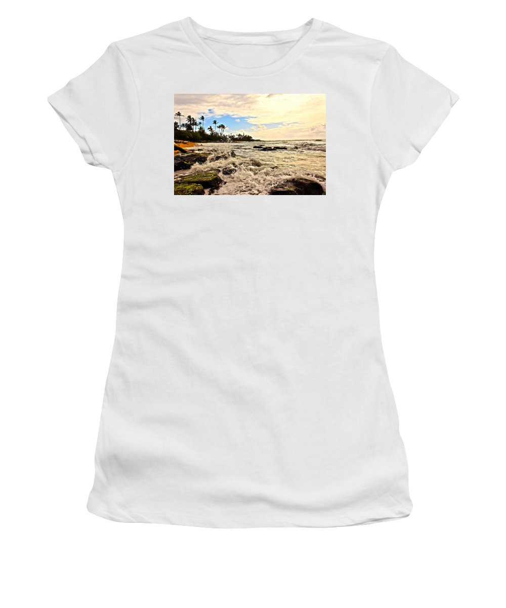 America Women's T-Shirt (Athletic Fit) featuring the photograph Lihue Splash by Artistic Photos