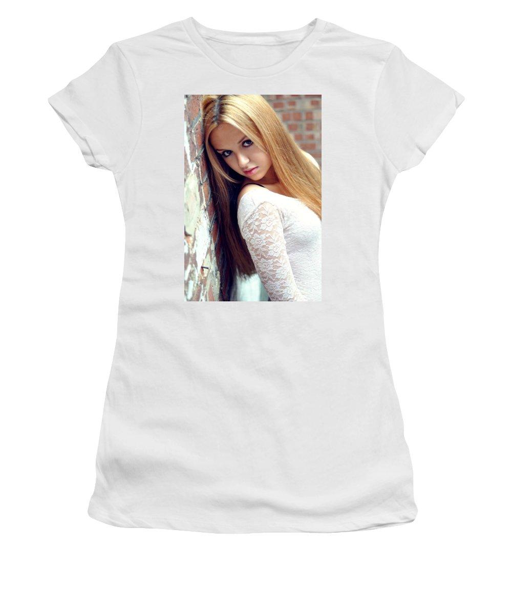 Yhun Suarez Women's T-Shirt (Athletic Fit) featuring the photograph Liuda4 by Yhun Suarez