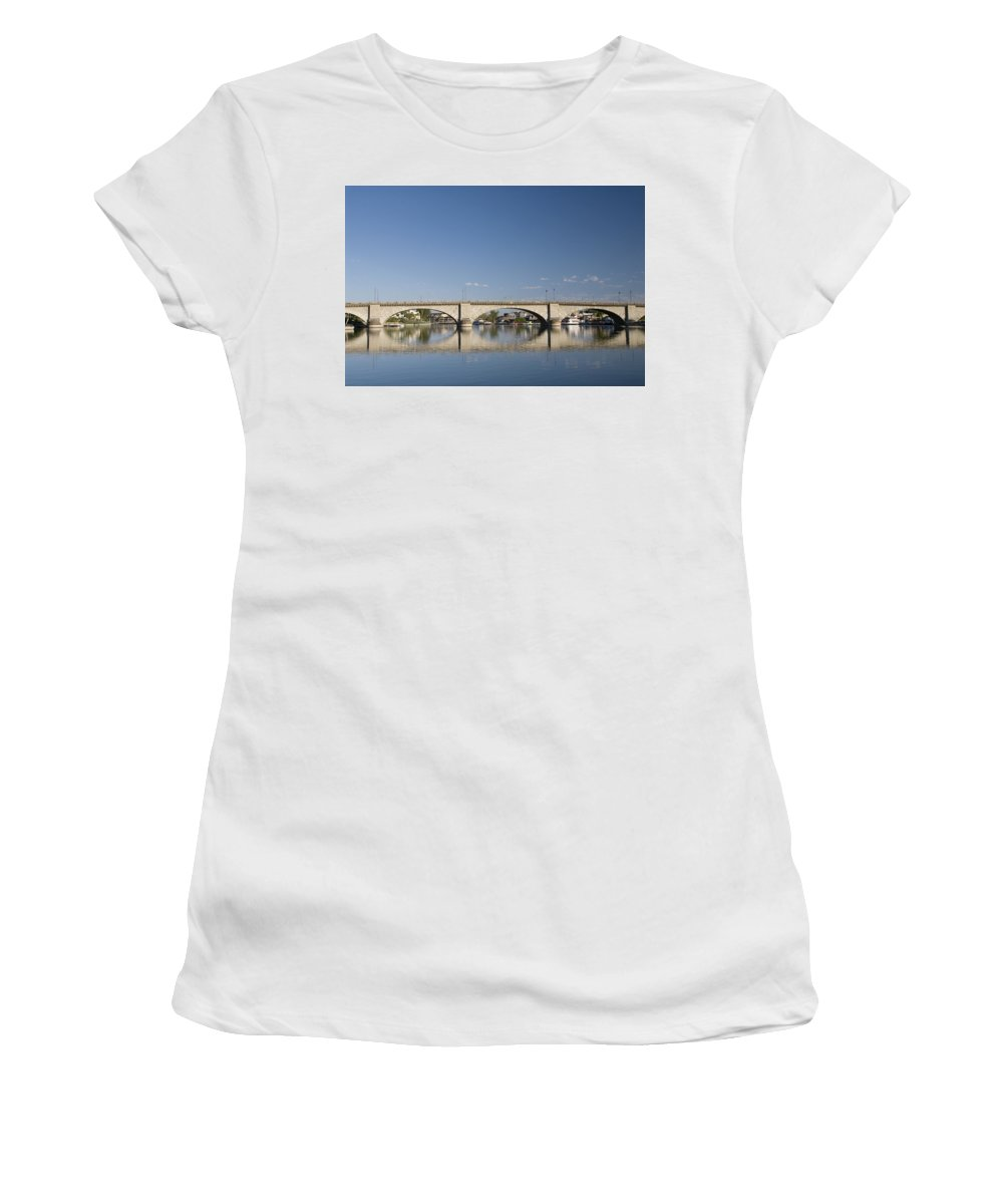 America Women's T-Shirt (Athletic Fit) featuring the photograph London Bridge And Reflection by Gloria & Richard Maschmeyer