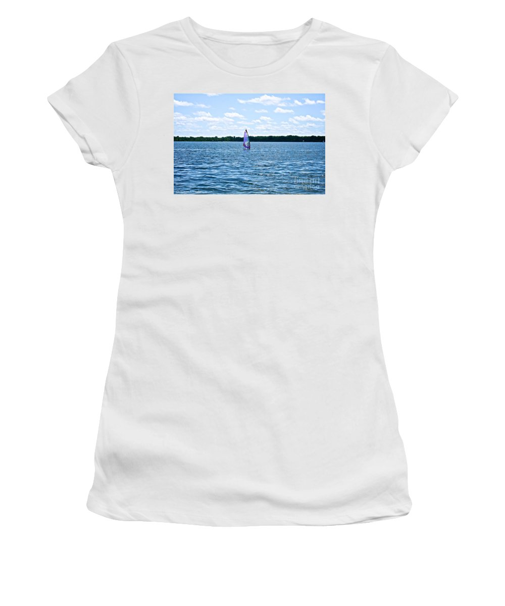 Minnesota Women's T-Shirt featuring the photograph Lone Wind Surfer by Susan Herber