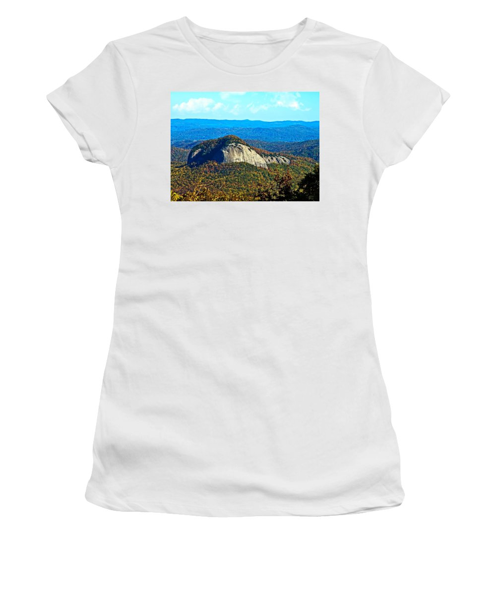 Mountain Women's T-Shirt (Athletic Fit) featuring the photograph Looking Glass Mountain Blue Ridge Parkway by Susan Leggett