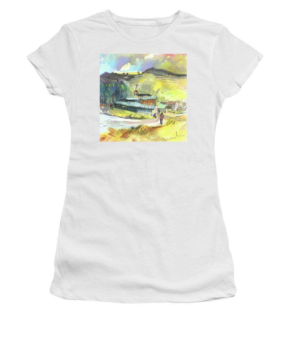 Spain Women's T-Shirt (Athletic Fit) featuring the painting Los Olmos De Penafiel In Spain 01 by Miki De Goodaboom