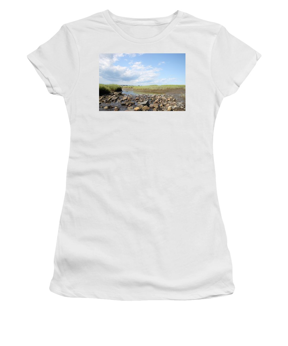 Biddeford Maine Women's T-Shirt (Athletic Fit) featuring the photograph Low Tide by Michael Mooney