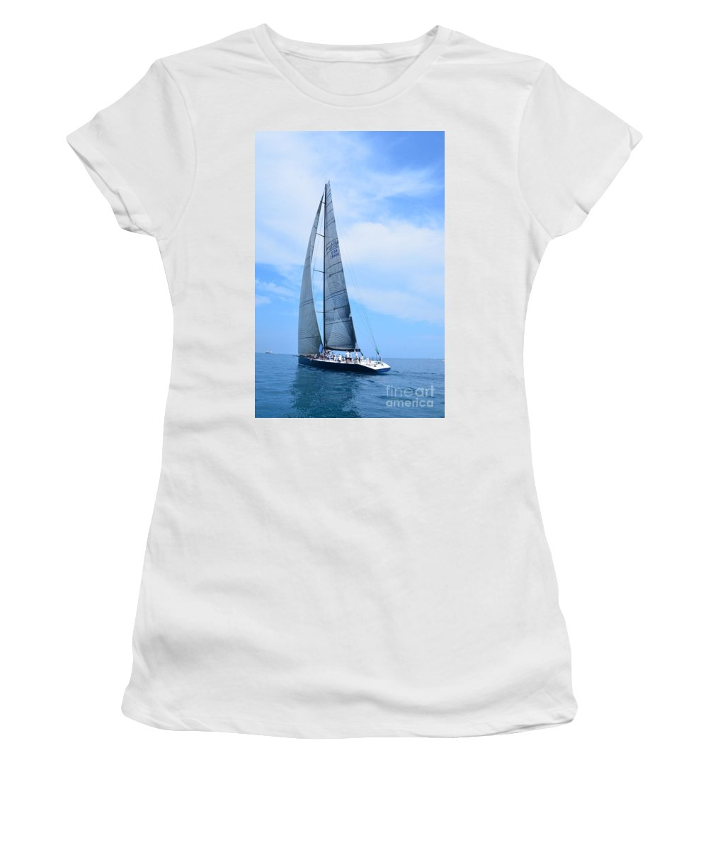 Sailboat Women's T-Shirt featuring the photograph Mackinac Race by Randy J Heath