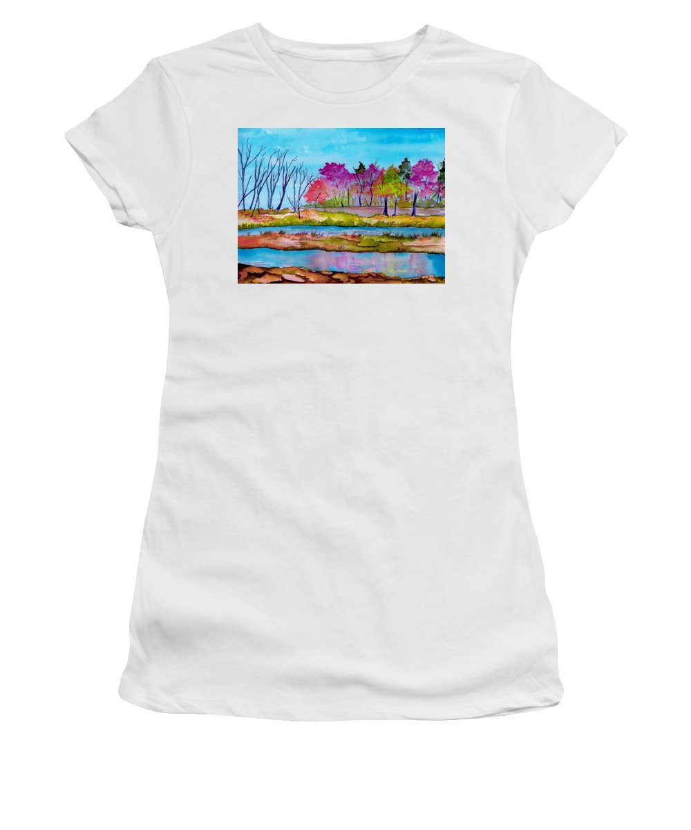 Landscape Women's T-Shirt (Athletic Fit) featuring the painting Magenta Woods by Brenda Owen
