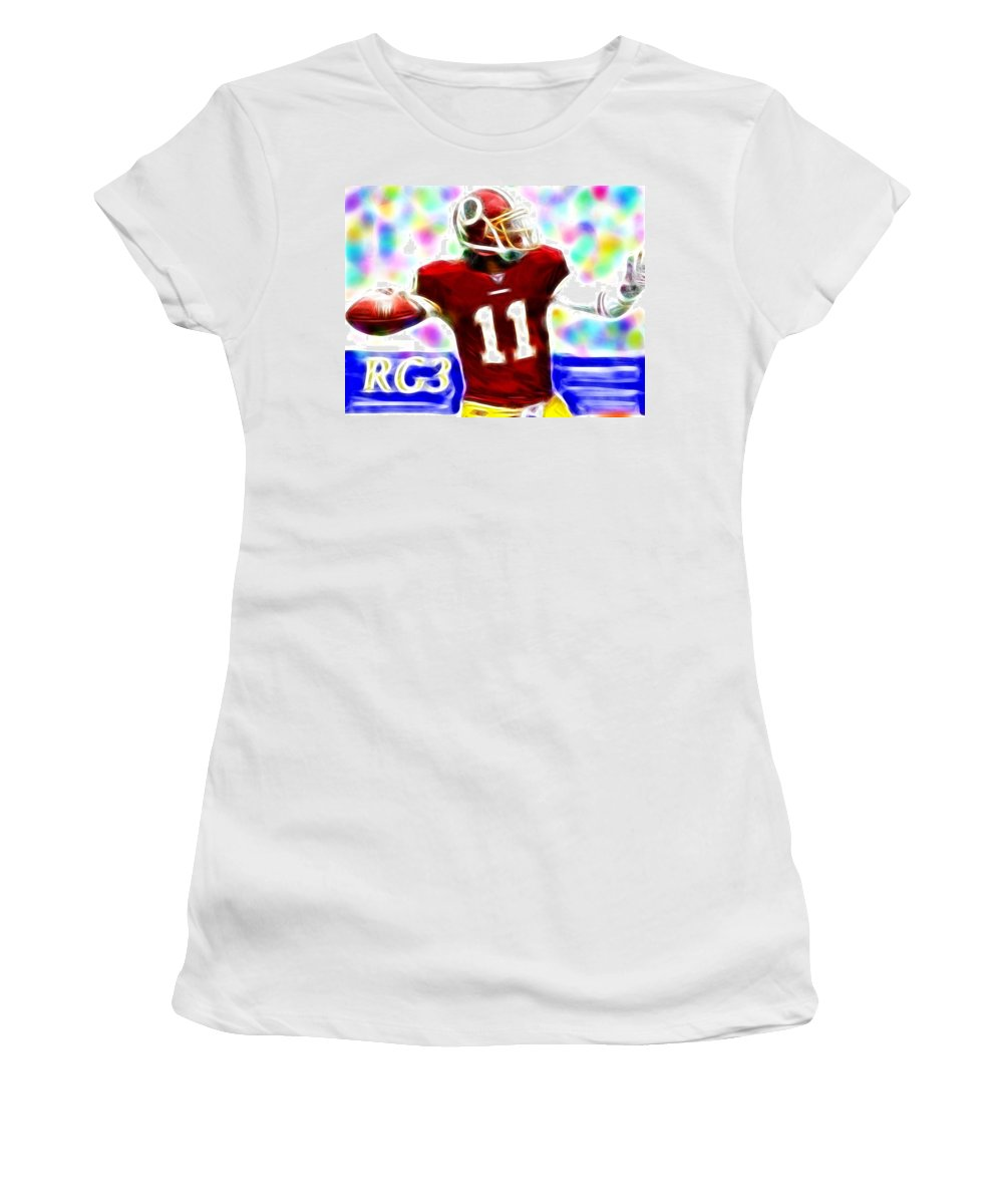 Washington Redskins Women's T-Shirt featuring the painting Magical Rg3 by Paul Van Scott