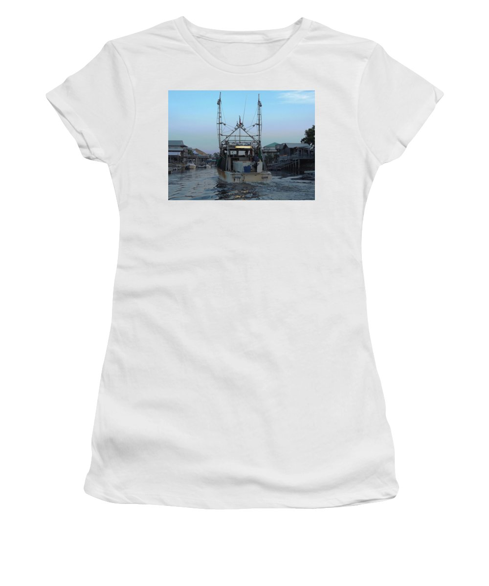 Shrimping Women's T-Shirt (Athletic Fit) featuring the photograph Miss Jerry's by Marilyn Holkham
