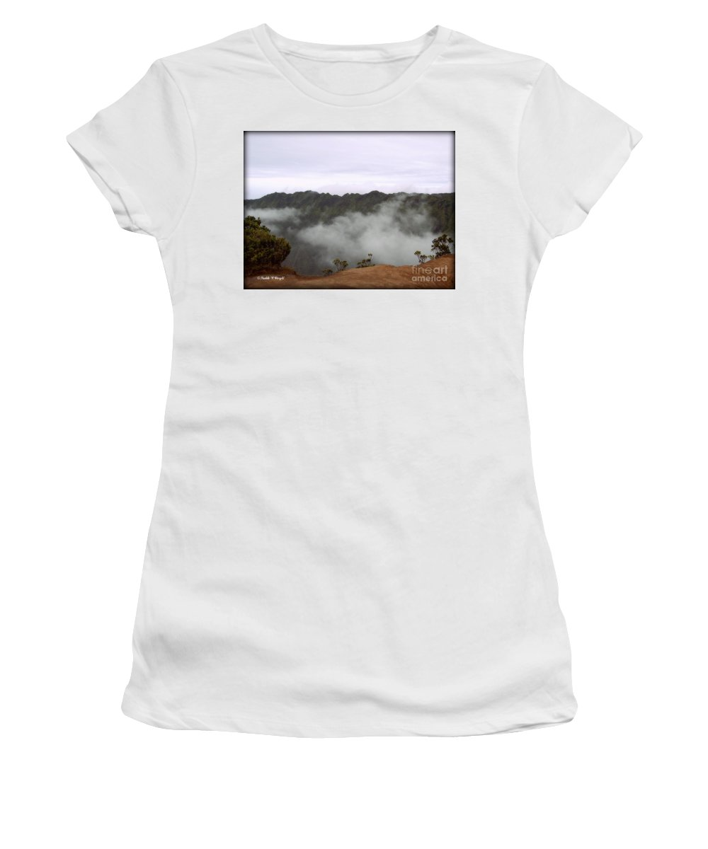 Kalalau Valley Women's T-Shirt (Athletic Fit) featuring the photograph Mists From The Kalalau Valley by Paulette B Wright