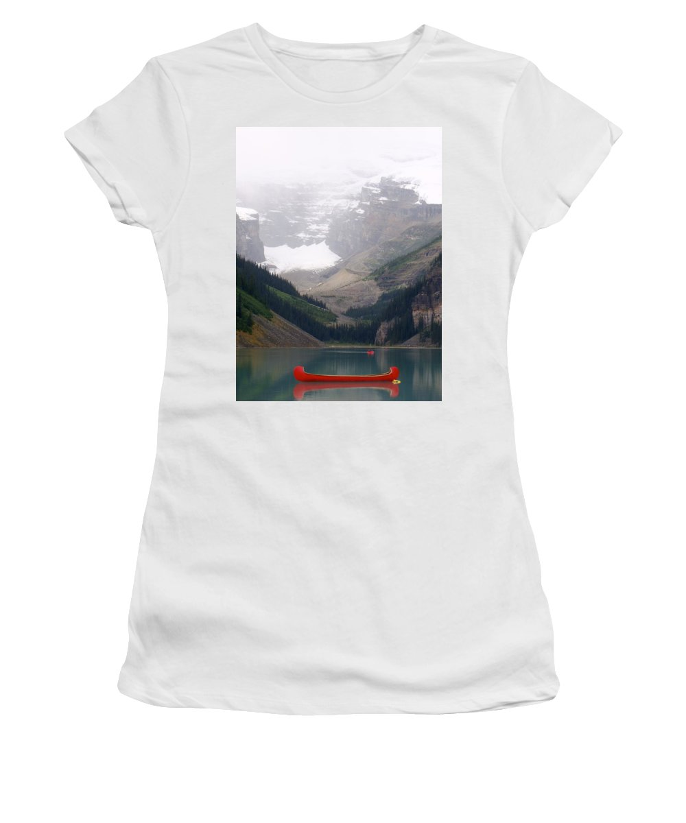 Canoe Women's T-Shirt (Athletic Fit) featuring the photograph Misty Paddle - Lake Louise, Alberta by Ian Mcadie