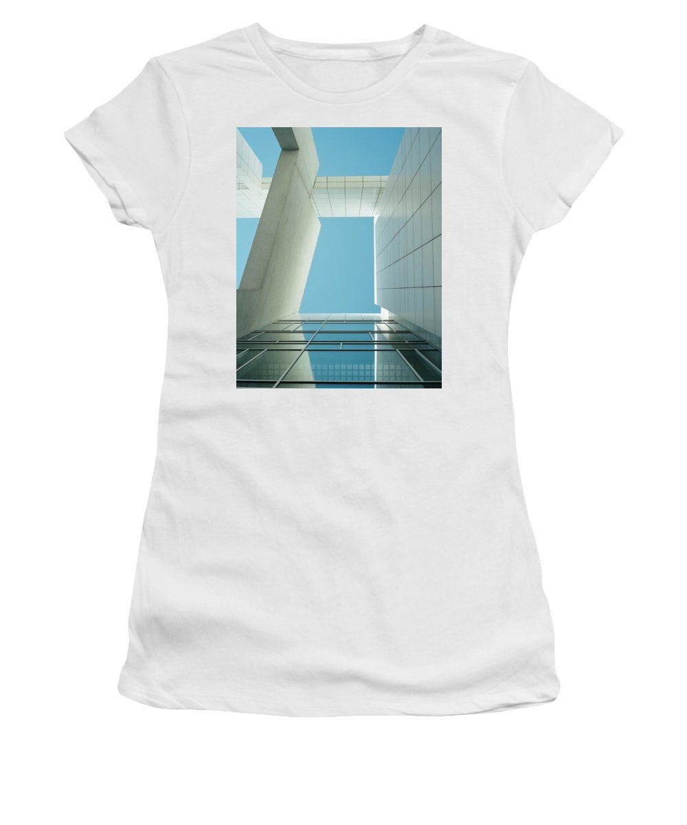 Photography Women's T-Shirt (Athletic Fit) featuring the photograph Modern Building Viewed From Below by Axiom Photographic