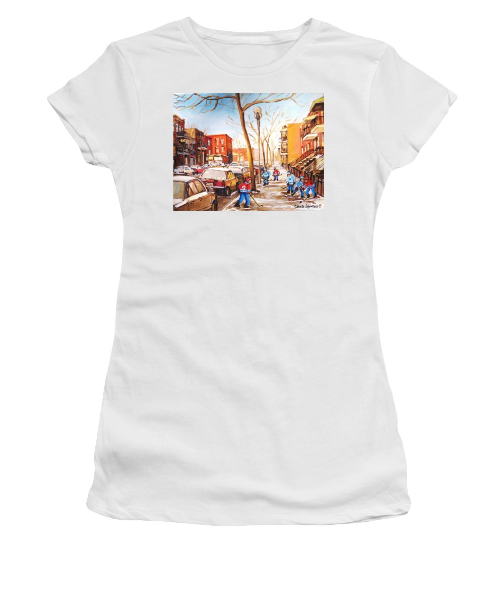 Montreal Street Scene With Boys Playing Hockey Women's T-Shirt (Athletic Fit) featuring the painting Montreal Street With Six Boys Playing Hockey by Carole Spandau