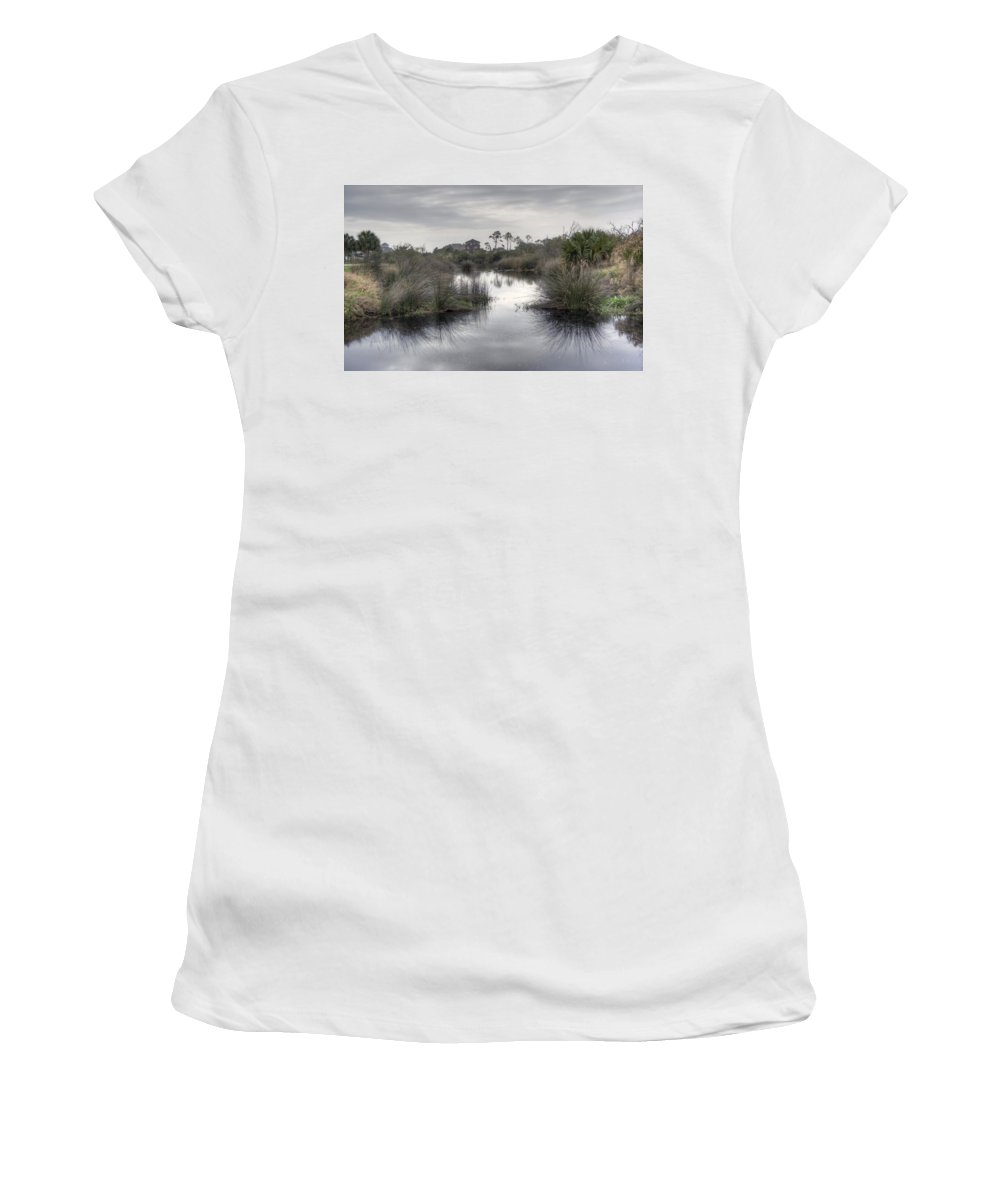 Pensacola Women's T-Shirt (Athletic Fit) featuring the photograph Moody Marsh by David Troxel