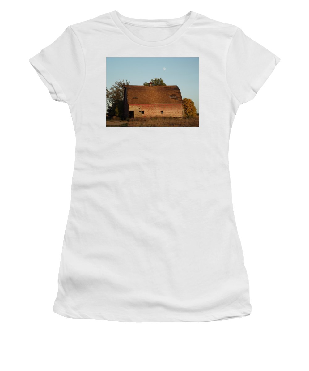 Moon Women's T-Shirt (Athletic Fit) featuring the photograph Moon Barn IIi by Bonfire Photography