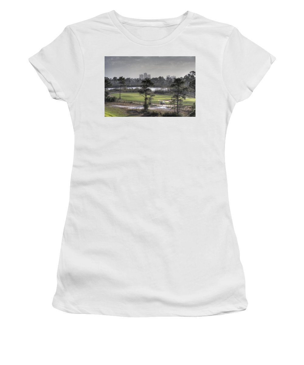 Golf Course Women's T-Shirt (Athletic Fit) featuring the photograph Morning Tee by David Troxel