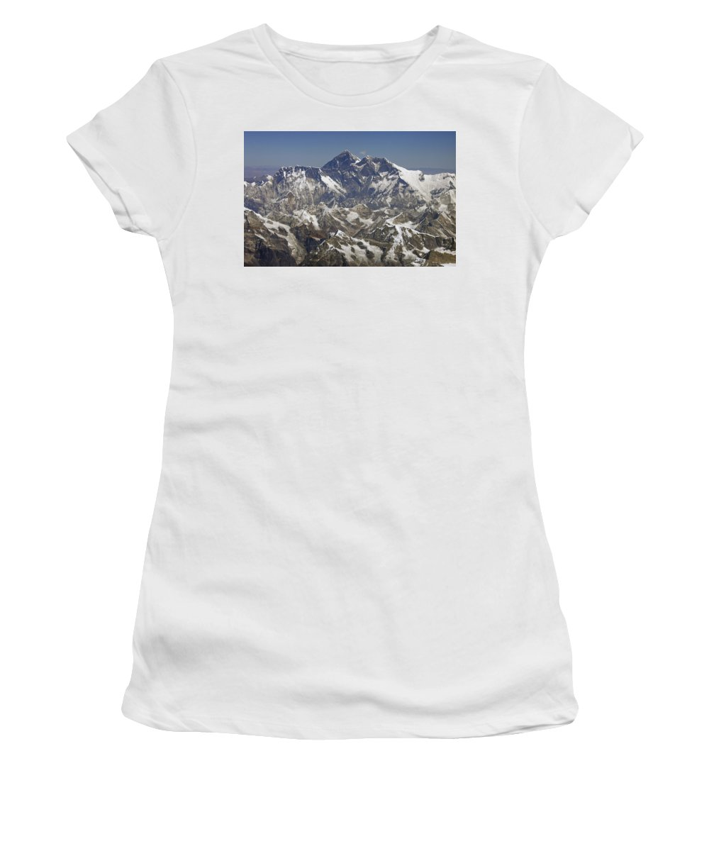 No People Women's T-Shirt (Athletic Fit) featuring the photograph Mount Everest by Axiom Photographic
