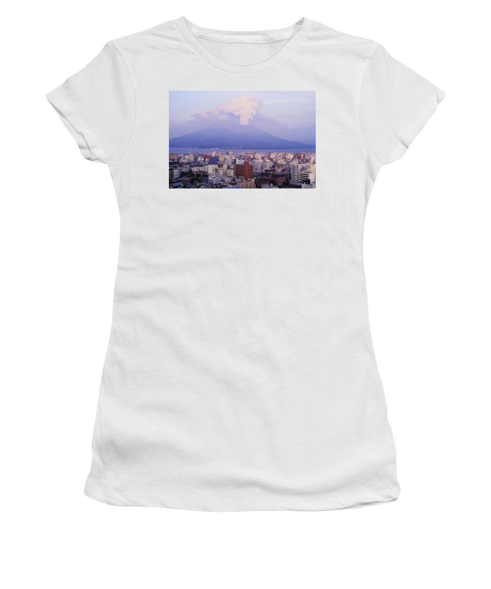 Urban Women's T-Shirt (Athletic Fit) featuring the photograph Mount Sakurajima Erupting In Front Of by Axiom Photographic