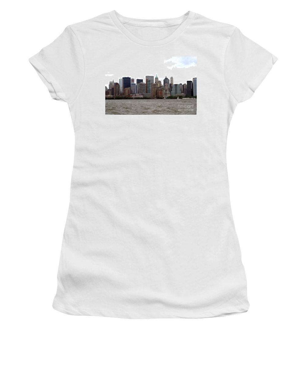 Multiple Buildings Women's T-Shirt (Athletic Fit) featuring the photograph Multi Color Nyc Buildings by Living Color Photography Lorraine Lynch