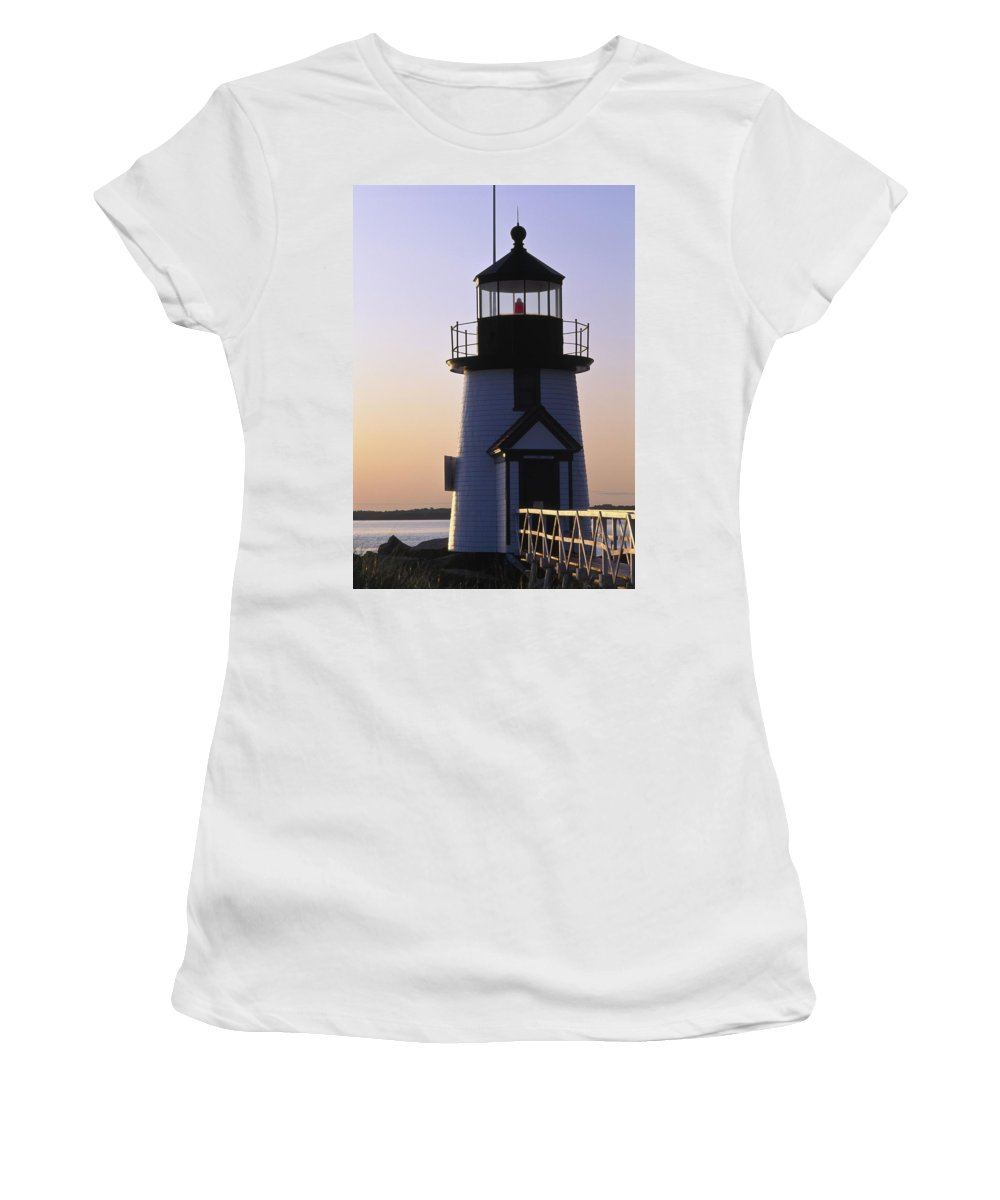 Photography Women's T-Shirt (Athletic Fit) featuring the photograph Nantucket Brant Point Lighthouse by Axiom Photographic