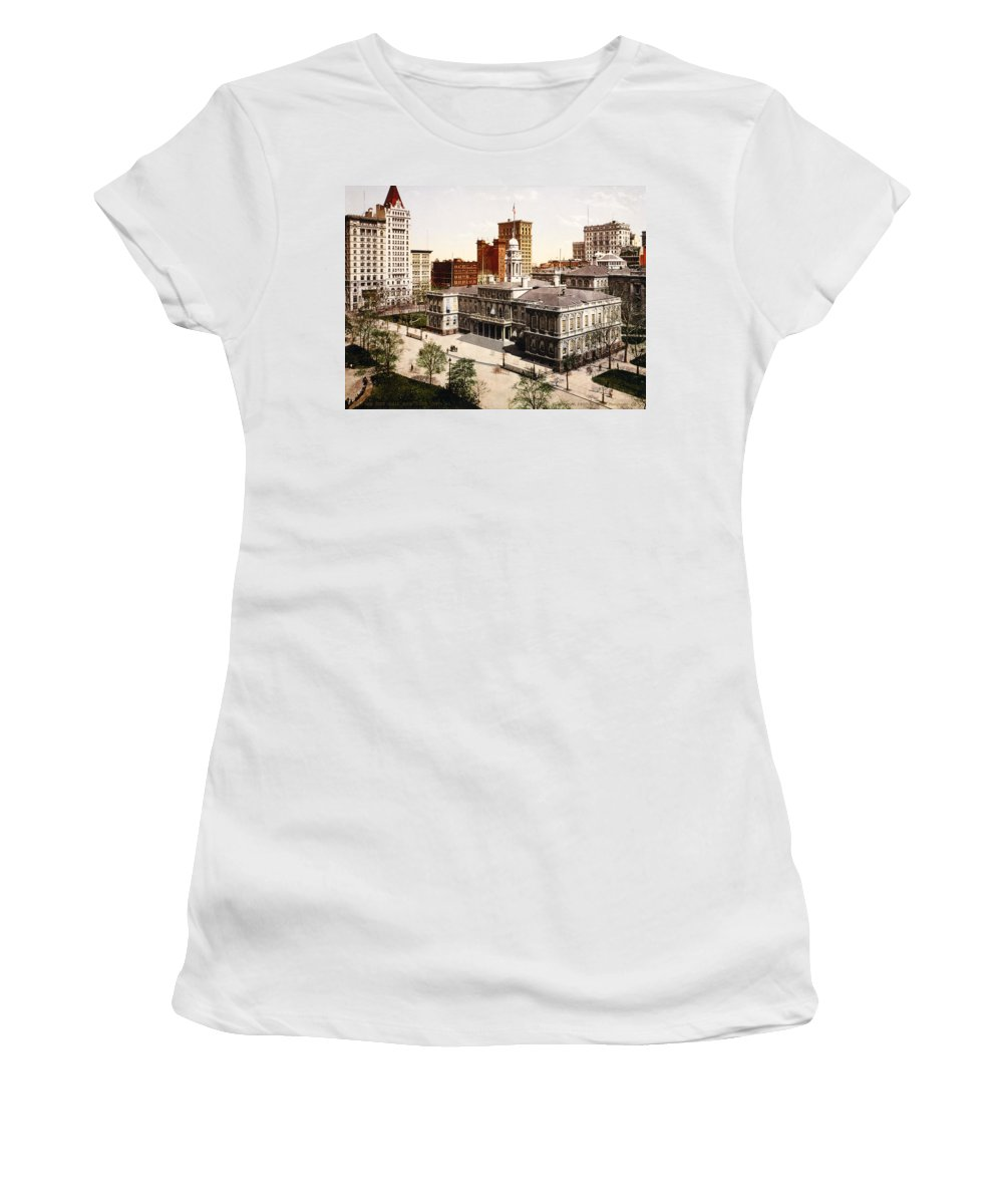 new York City Hall Women's T-Shirt featuring the photograph New York City Hall - 1900 by International Images