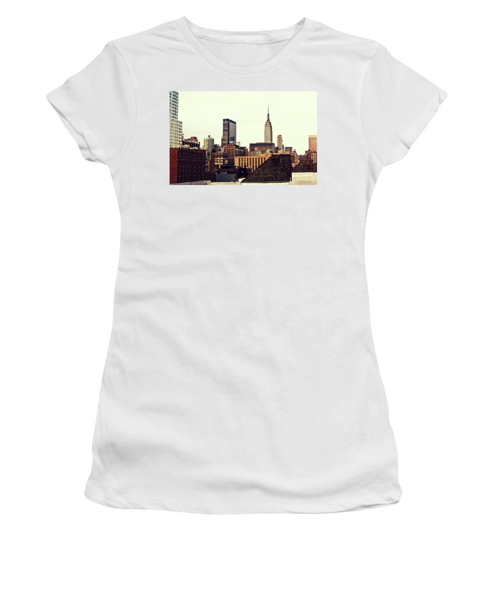 New York City Women's T-Shirt featuring the photograph New York City Rooftops And The Empire State Building by Vivienne Gucwa