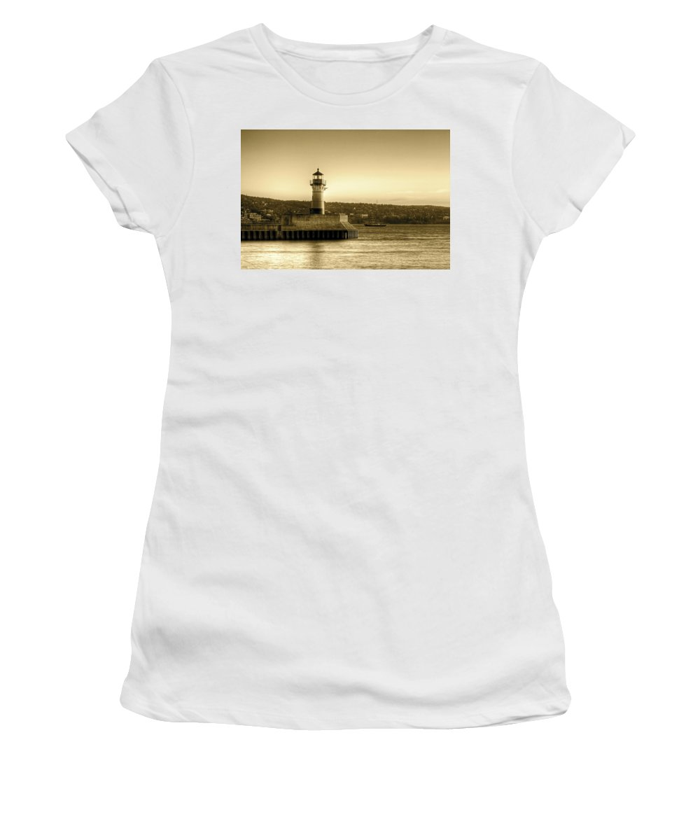 Duluth Women's T-Shirt (Athletic Fit) featuring the photograph North Pier Lighthouse by Bryan Benson