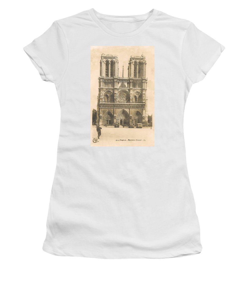 Paris Women's T-Shirt (Athletic Fit) featuring the digital art Notre Dame by Georgia Fowler