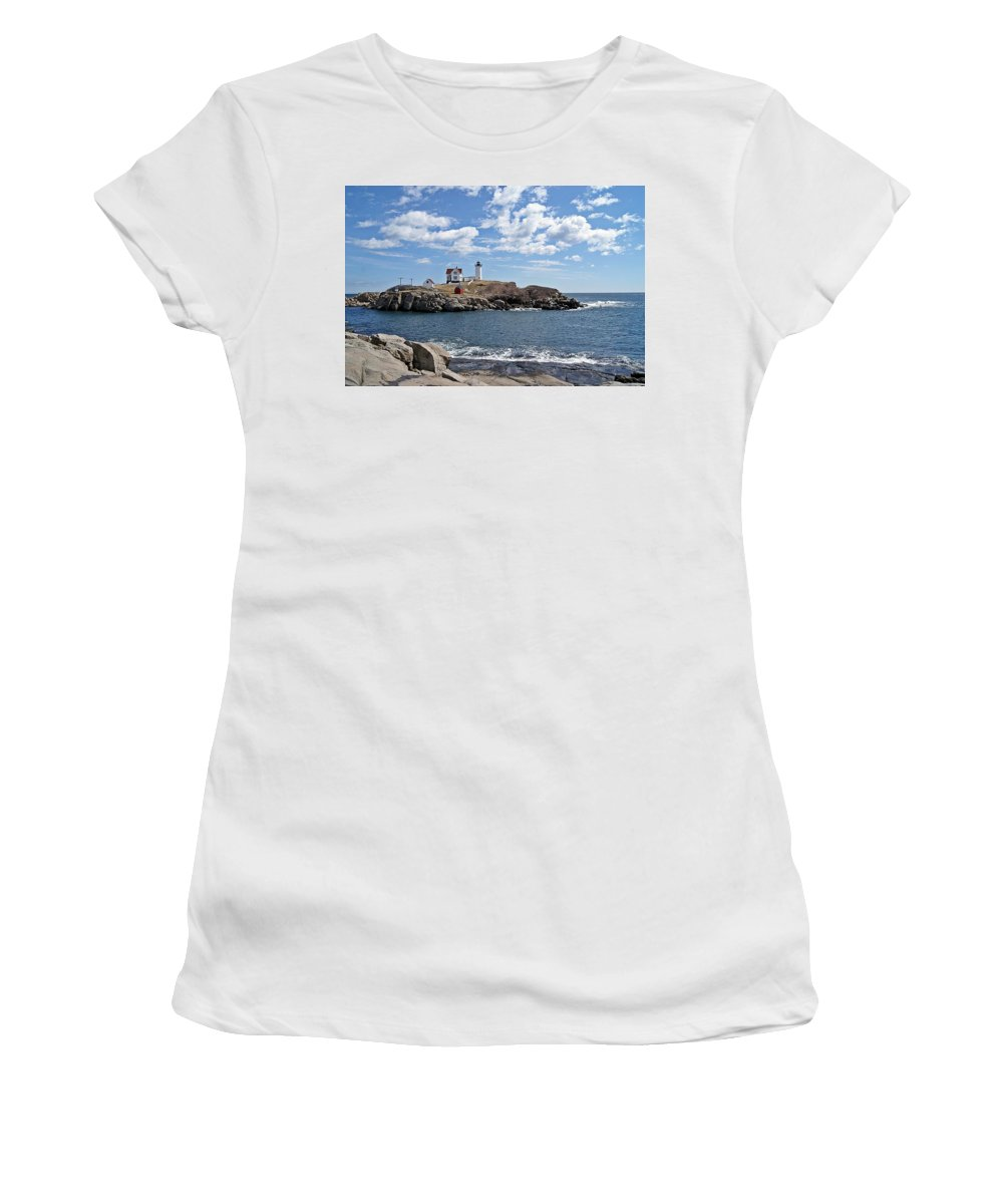 Nubble Light Women's T-Shirt featuring the photograph Nubble Light II by Joe Faherty