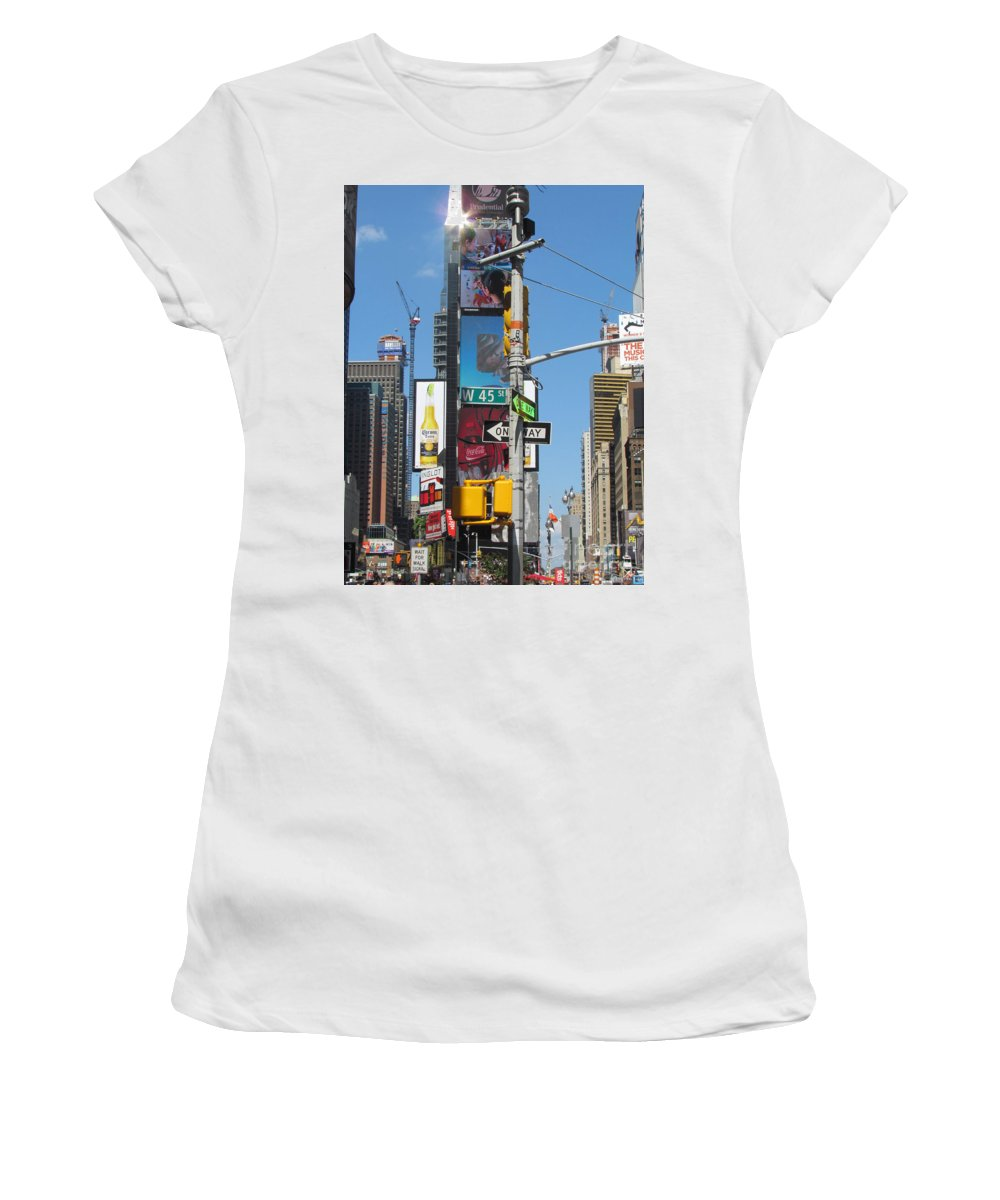 Times Square Women's T-Shirt (Athletic Fit) featuring the photograph Nyc Directions by Randi Shenkman