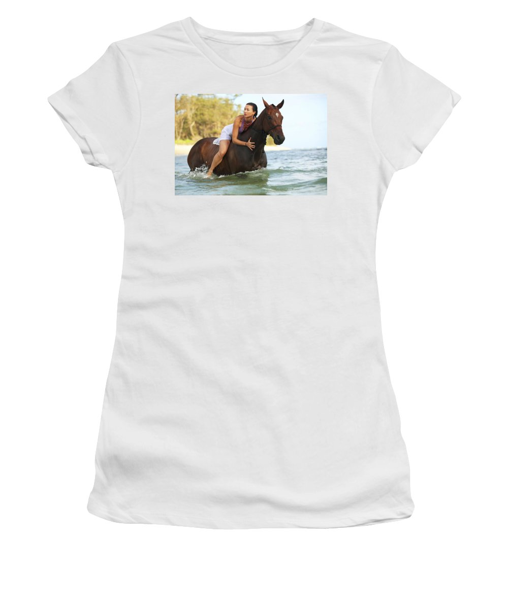 Activity Women's T-Shirt (Athletic Fit) featuring the photograph Ocean Horseback Rider by Vince Cavataio