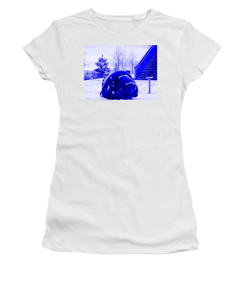 Blue Artwork Women's T-Shirt (Athletic Fit) featuring the photograph Old Blue Eye by Kym Backland