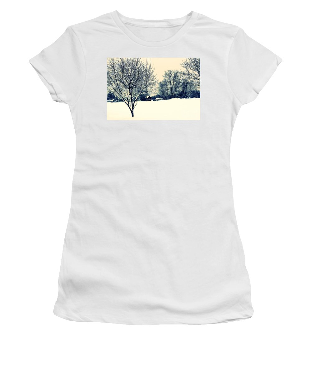 Alone Women's T-Shirt (Athletic Fit) featuring the photograph Old Country Christmas 3 by Dan Stone