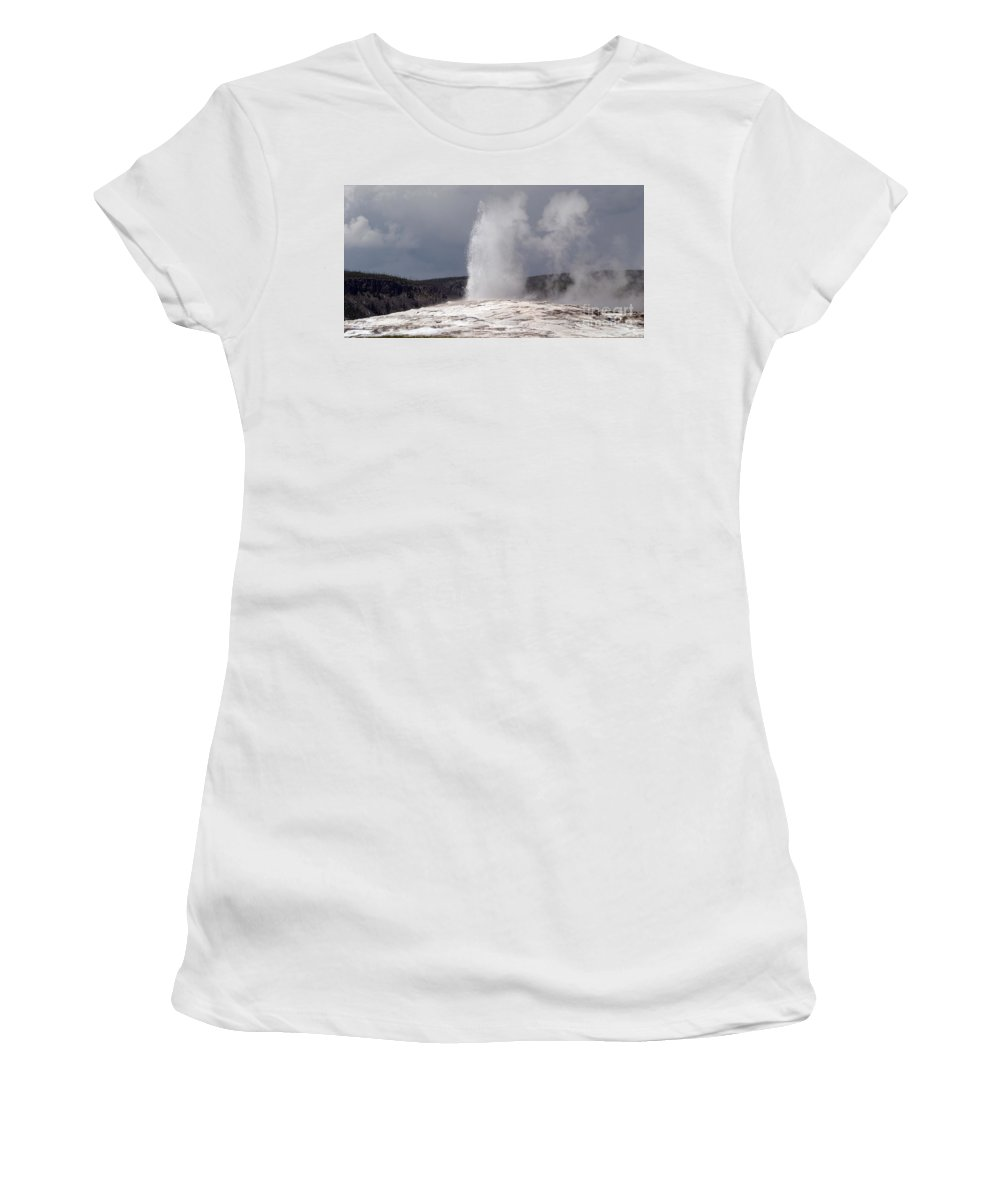 Old Faithful Women's T-Shirt (Athletic Fit) featuring the photograph Old Faithful On A Cloudy Day by Living Color Photography Lorraine Lynch
