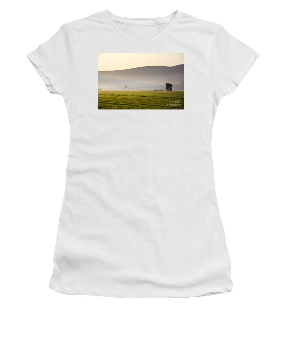 Old Women's T-Shirt (Athletic Fit) featuring the photograph Old House On The Field by Mats Silvan