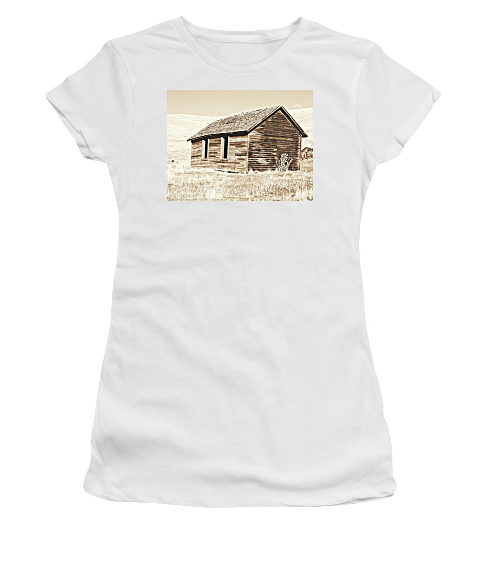 Ranch Women's T-Shirt featuring the photograph Old Ranch Hand Cabin L by Kathy Sampson