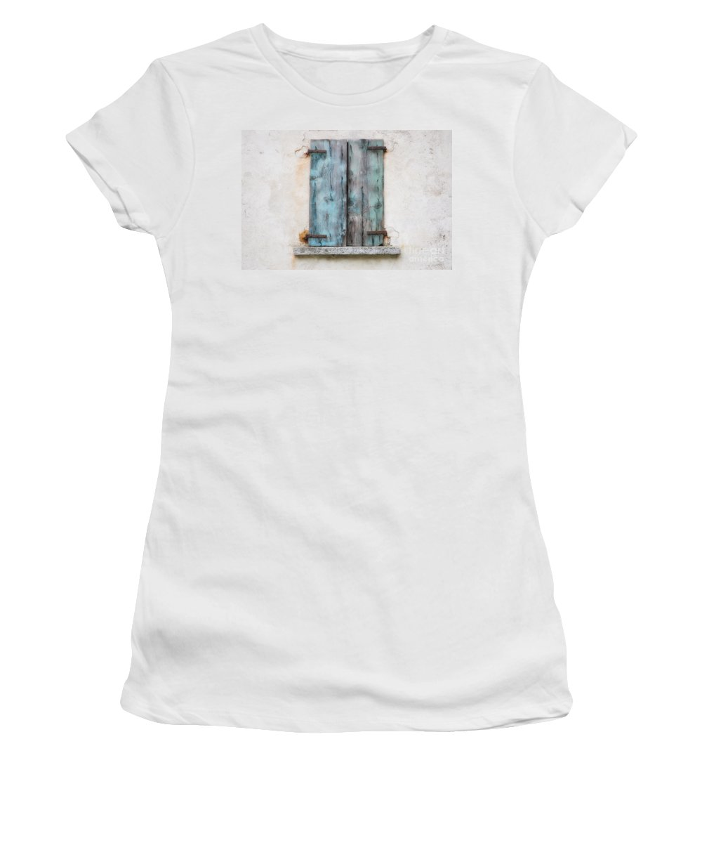 Window Women's T-Shirt (Athletic Fit) featuring the photograph Old Window With Blue Shutte by Mats Silvan