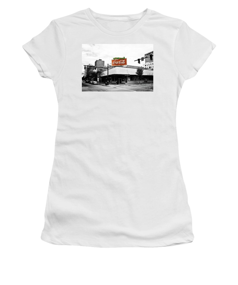 Black & White Women's T-Shirt (Athletic Fit) featuring the photograph On The Corner by Scott Pellegrin